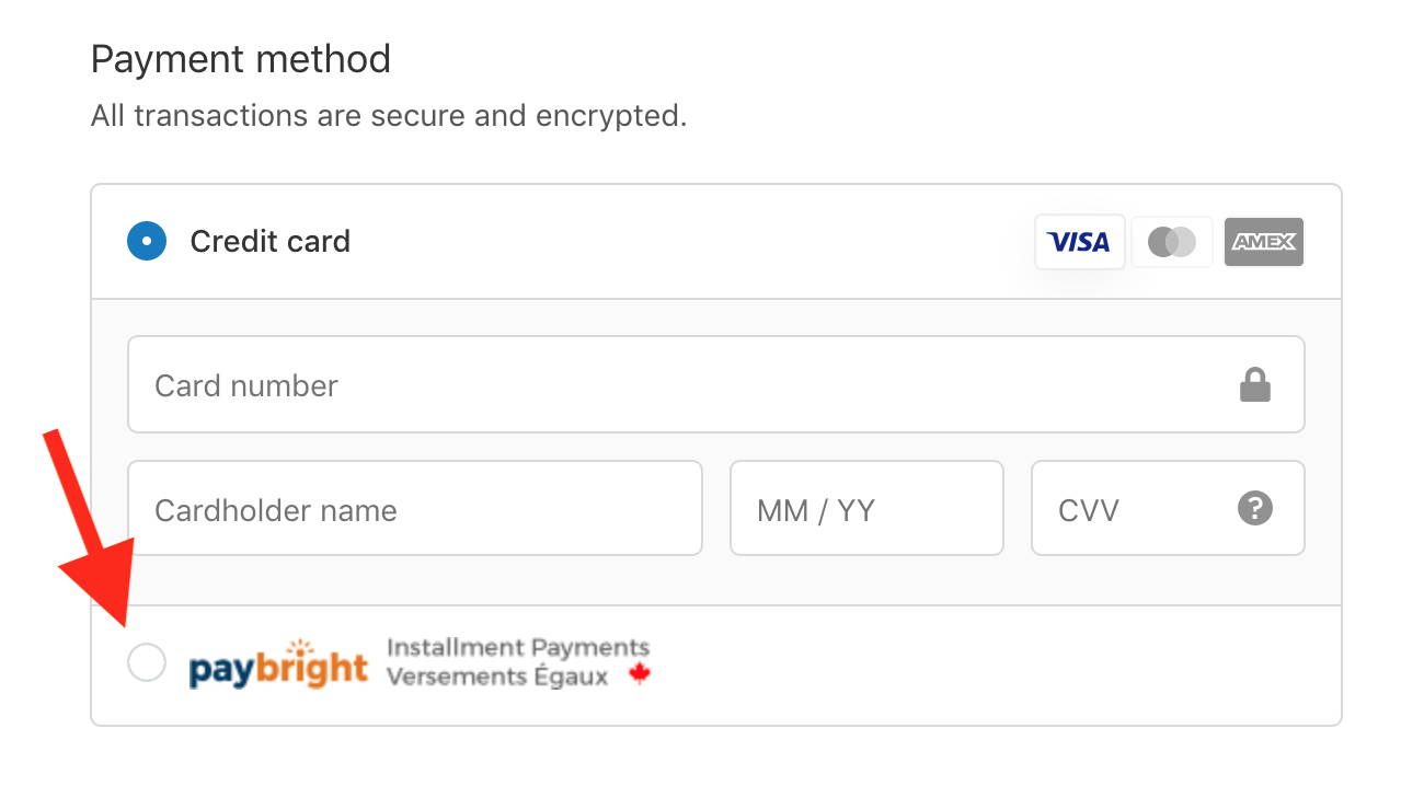 Choose PayBright Payment Option