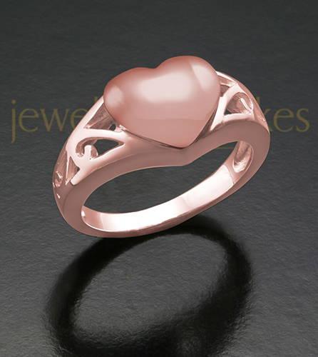Ladies 14K Rose Gold Filigree Heart Cremation Ash Ring
