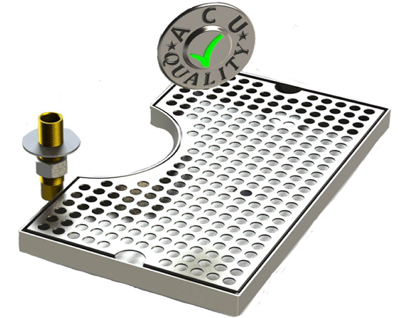 Surface Mount Beer Tray with Drain and Cutout for beer tower