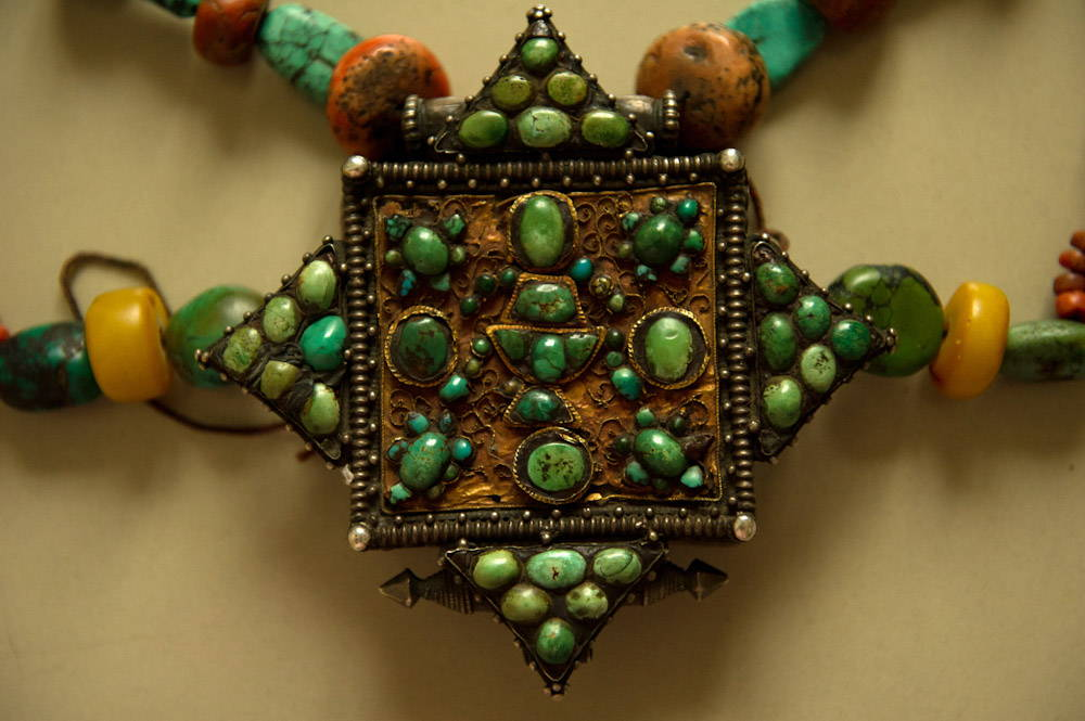 Antique Himalayan Ghau Necklace Ladakh Tibet Turquoise Coral Amber Silver Gold