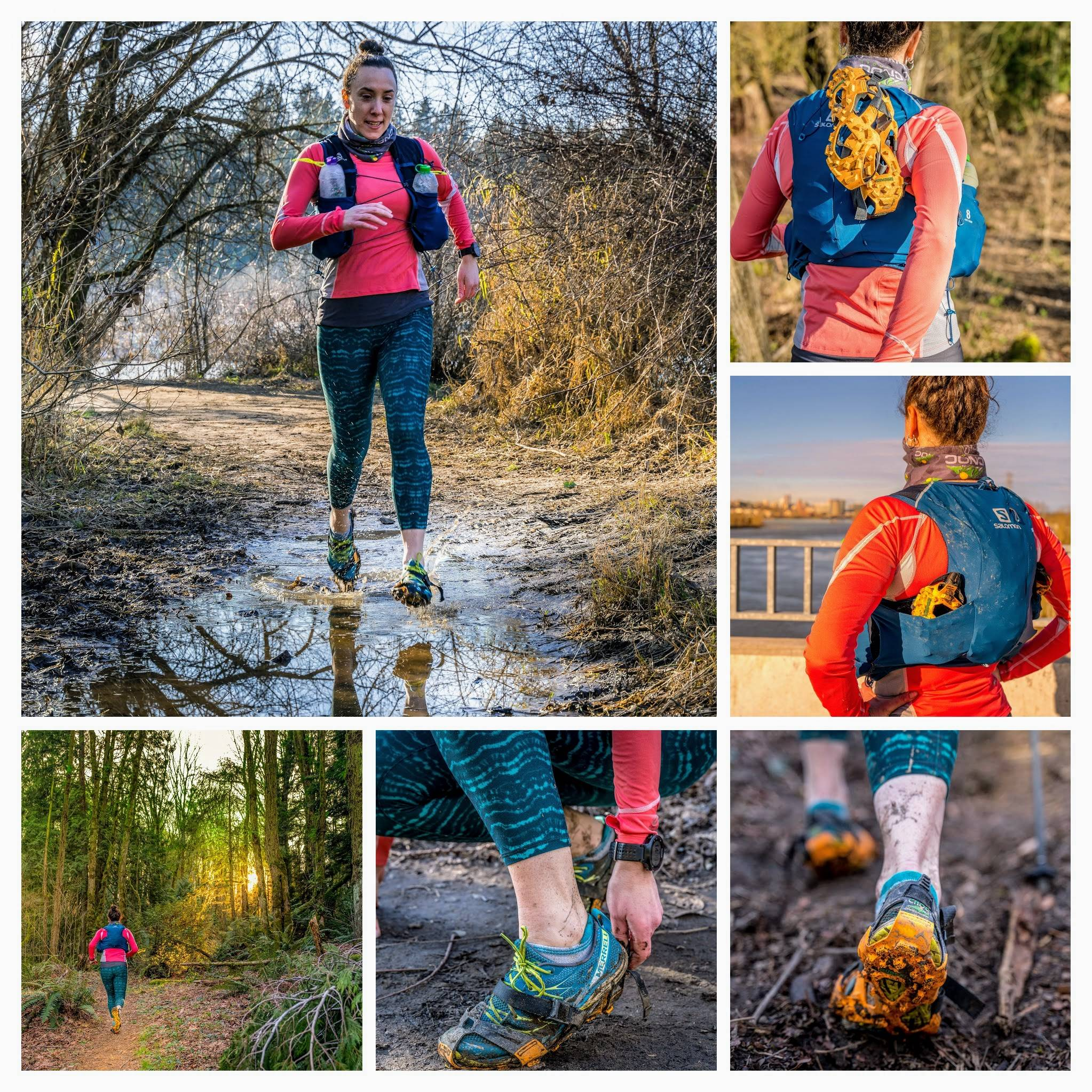 collage of woman running with mudpons
