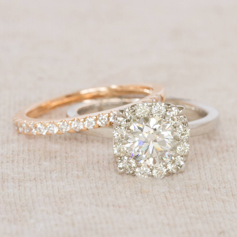 Halo Engagement Ring with Rose Gold Wedding Band