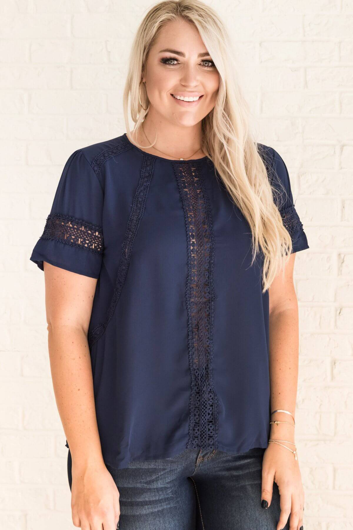 Navy Blue Curvy Plus Size Crochet Lace Boutique Blouses Business Casual for Women