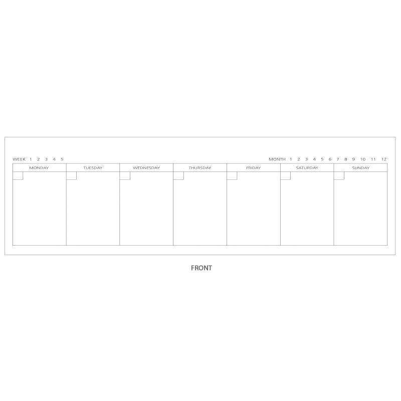 Weekly plan(front) - 2young Wirebound kraft long dateless weekly desk planner
