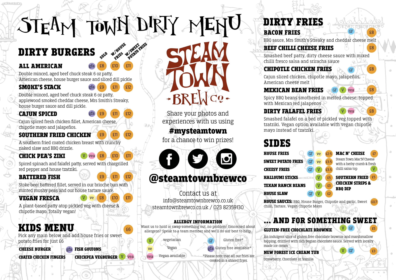 Steam Town Food Menu