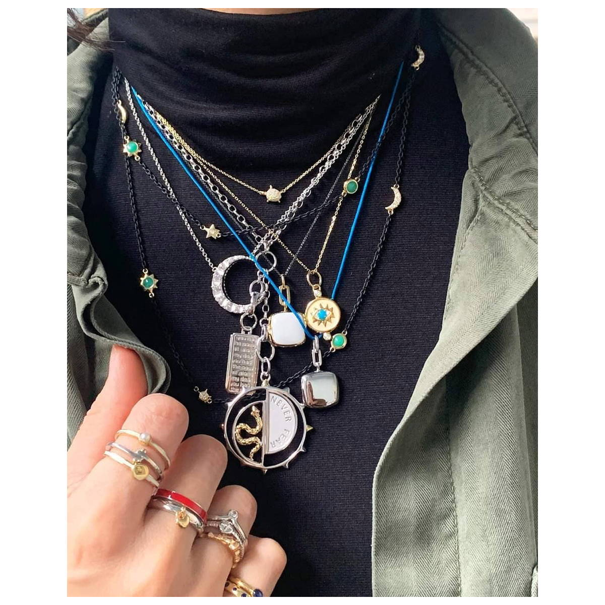 Layered necklaces neck mess
