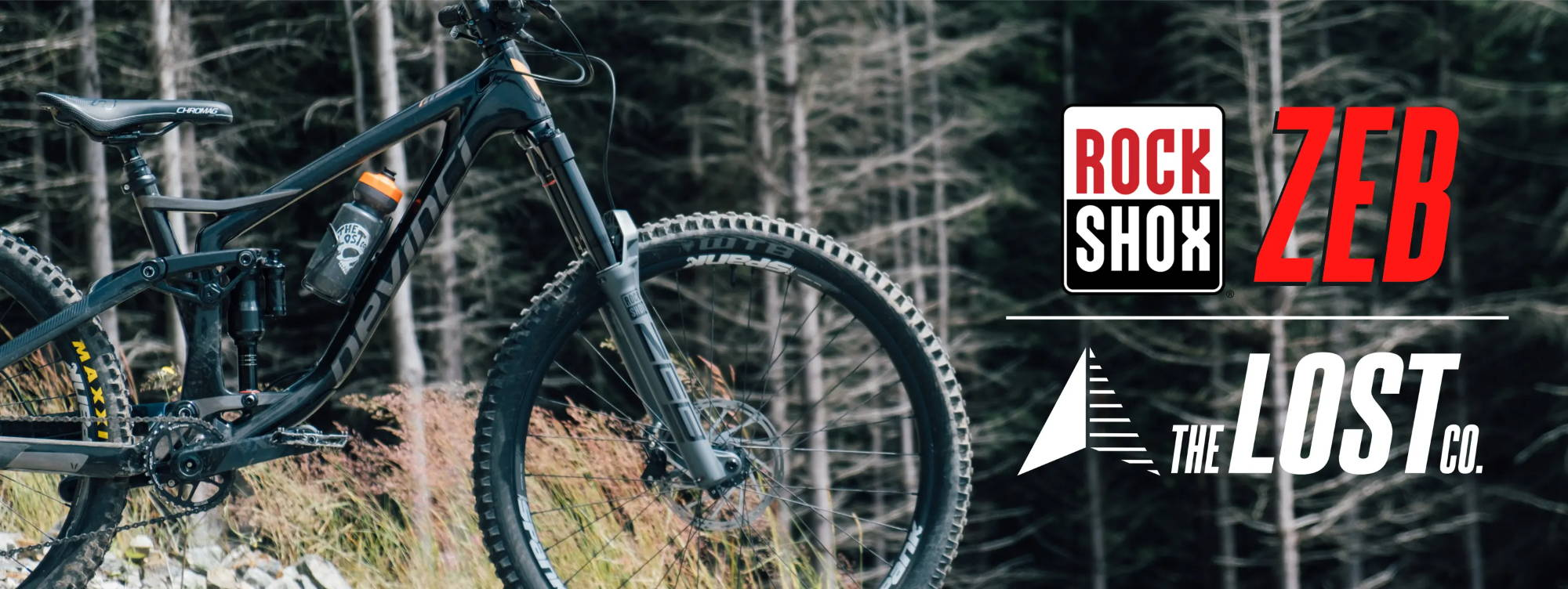 Rockshox Zeb Ultimate on a devinci spartan with rockshox and the lost co logos