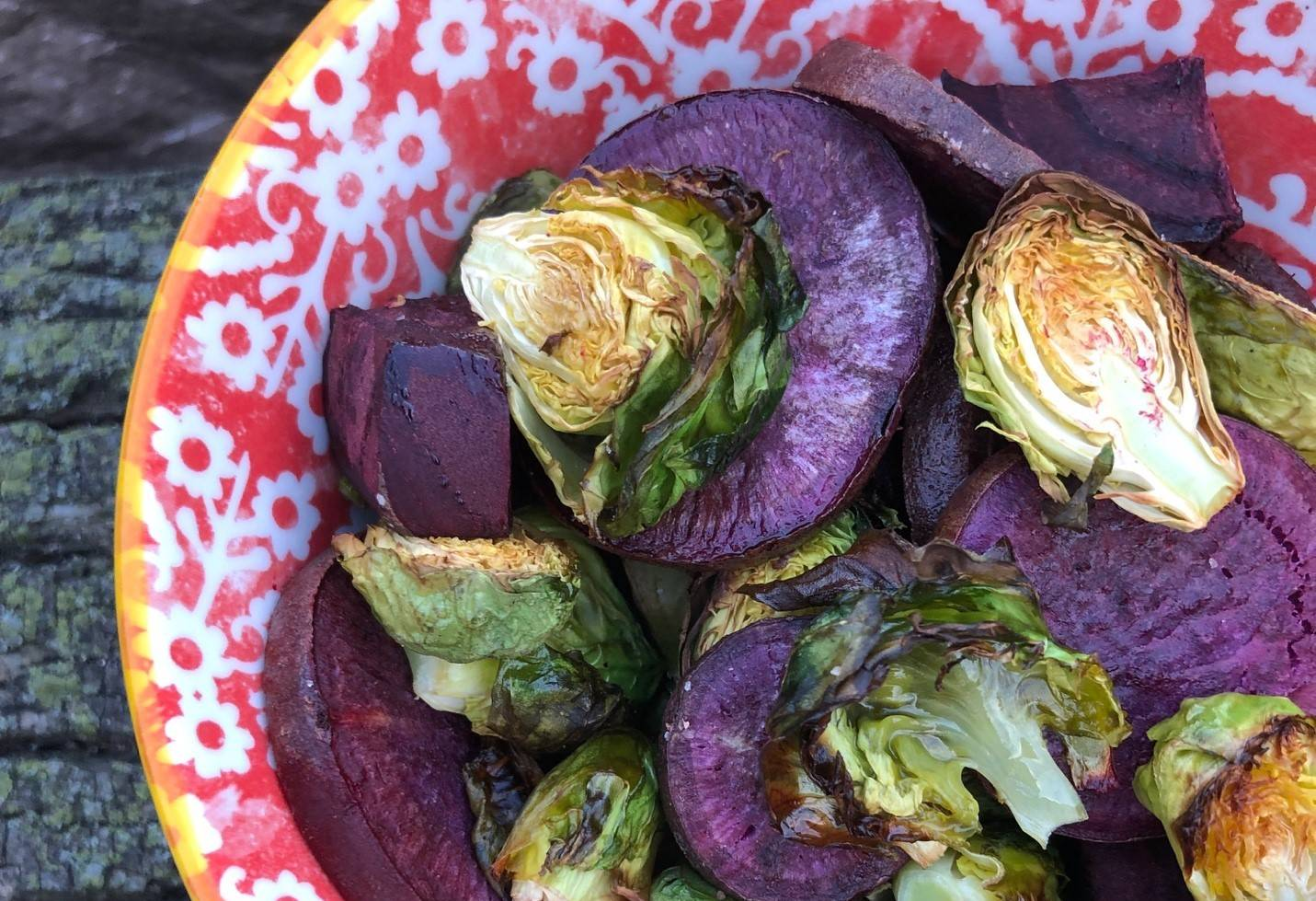 Purple Sweet Potato and Brussels Sprout Medley