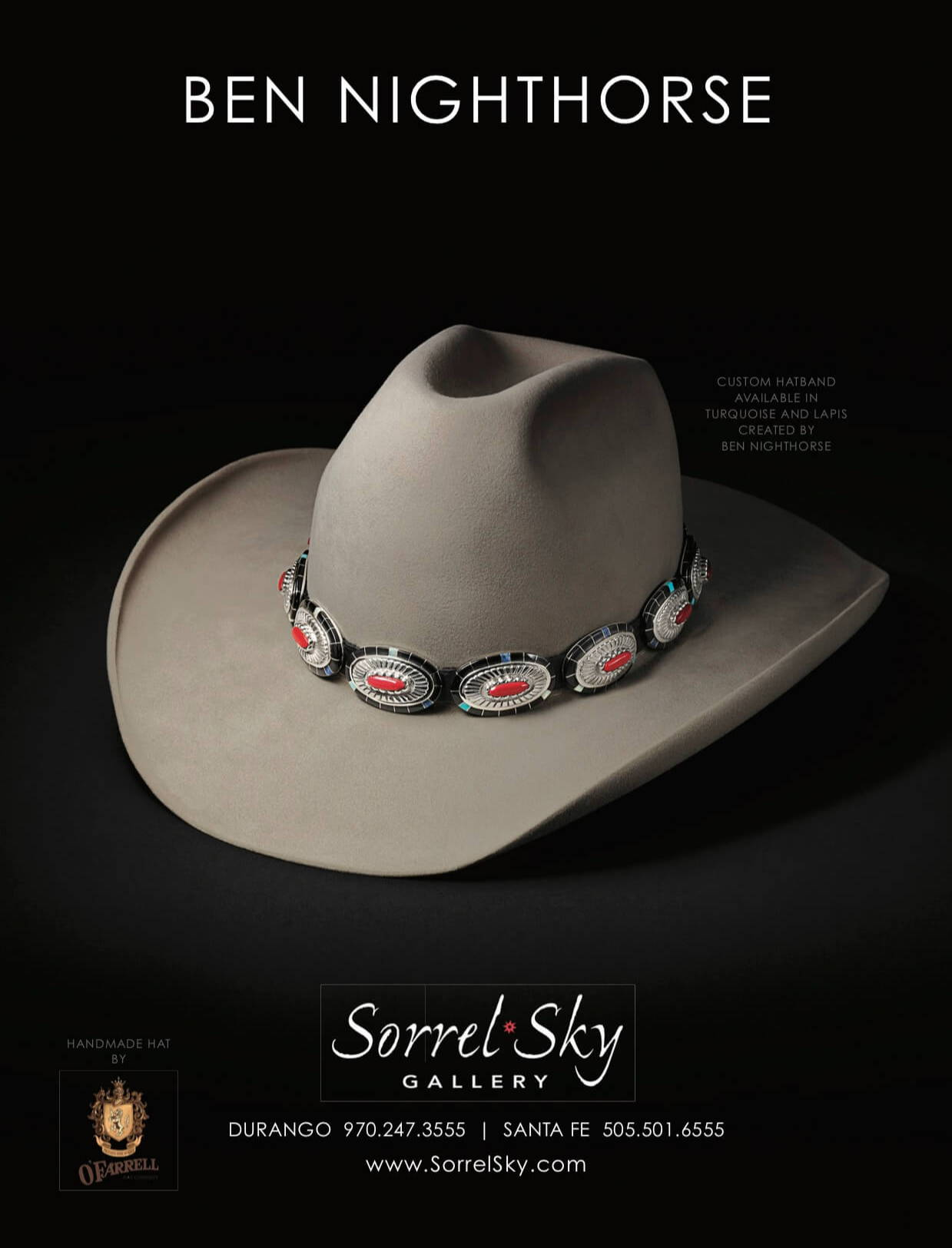 Ben Nighthorse. Nighthorse Jewelry. Ben Campbell. Hat Band. OFarrell Hat. Cowboy Hat. Santa Fe Art Gallery. Sorrel Sky Gallery.