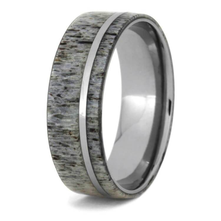 TITANIUM WEDDING BAND WITH DEER ANTLER OVERLAY