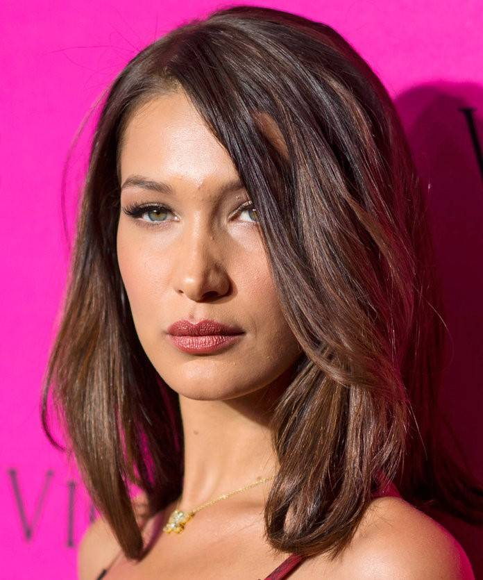 Bella Hadid with brown flipped layers