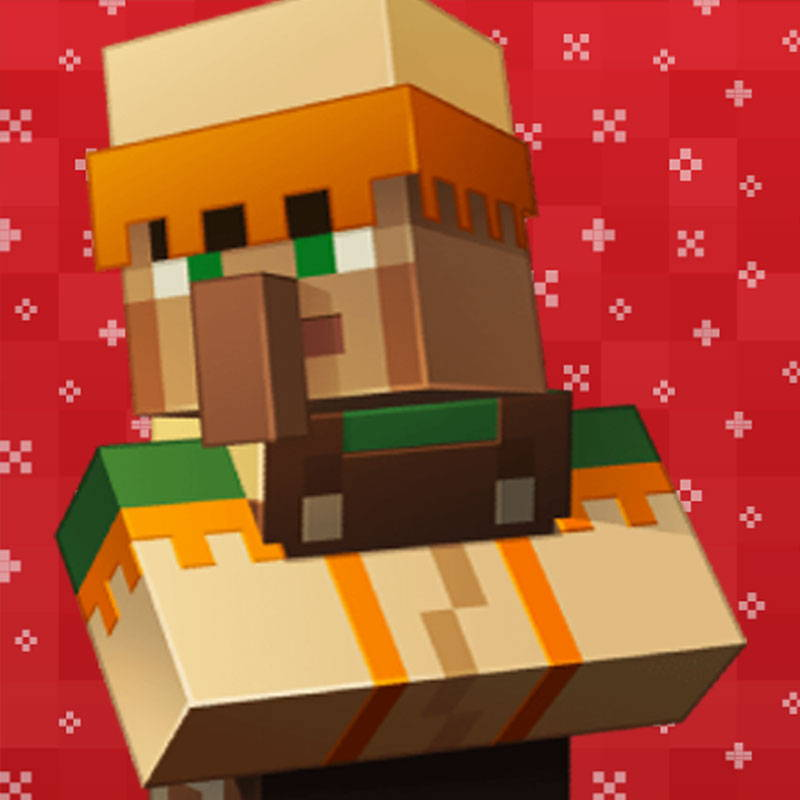 Festive Minecraft villager graphic.