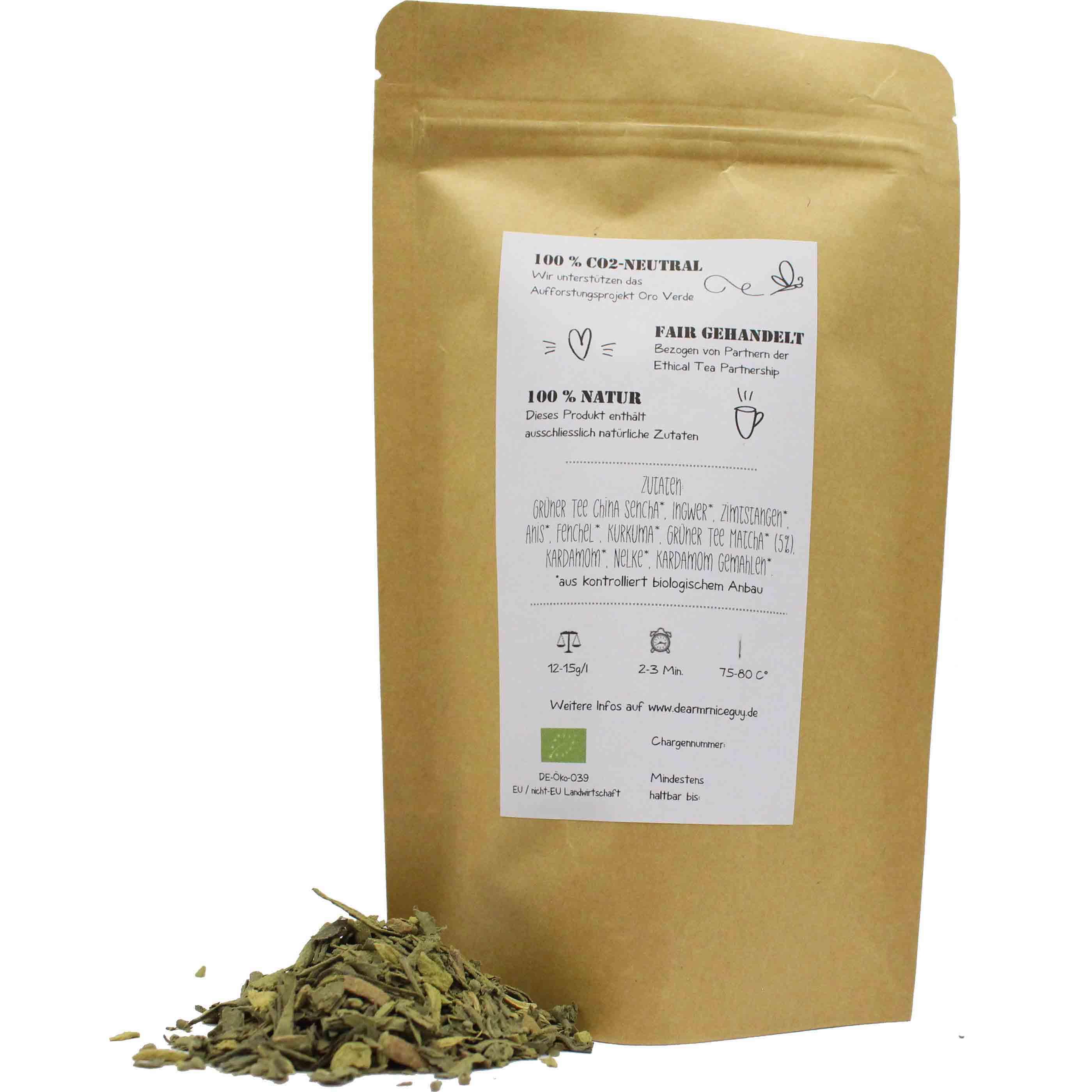 Grüner Matcha Bio Tee Verpackung