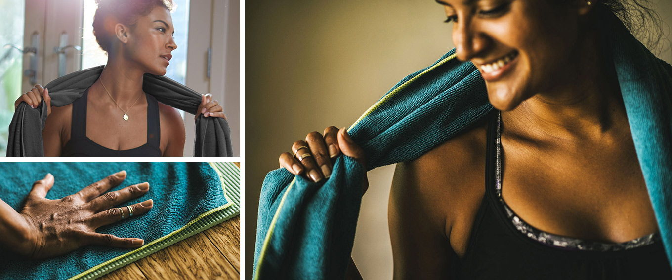Non-slip and absorbent yoga mat towels from Gaiam