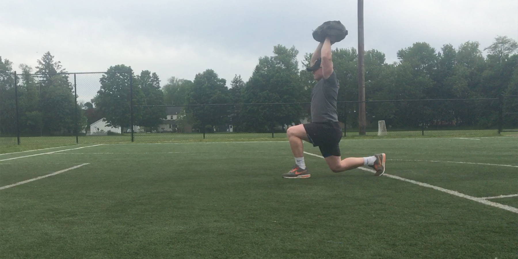 NEWF Bag Over-Head Walking Lunges Exercise