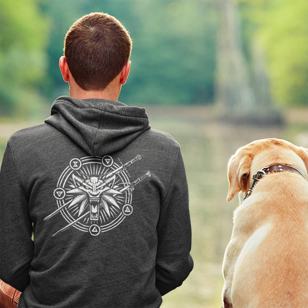 Image of a model wearing a Witcher hoodie