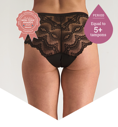 Full Brief Lace - Period Panties - 5+ Tampons Worth - Just'nCase by Confitex