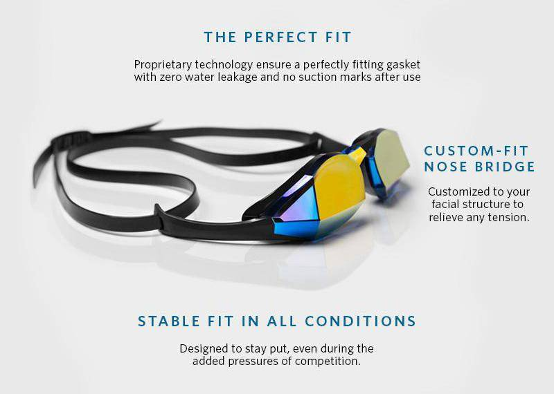 The perfect fit: Proprietary technology ensures a perfectly fitting gasket with zero water leakage and no suction marks after use. Custom-fit Nose Bridge: Customized to your facial structure to relieve any tensions. Stable fit in all conditions: Designed to stay put, even during the added pressures of competition.