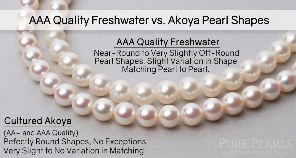 Comparing Freshwater and Akoya Pearl Necklaces by Shape and Quality: AAA Quality