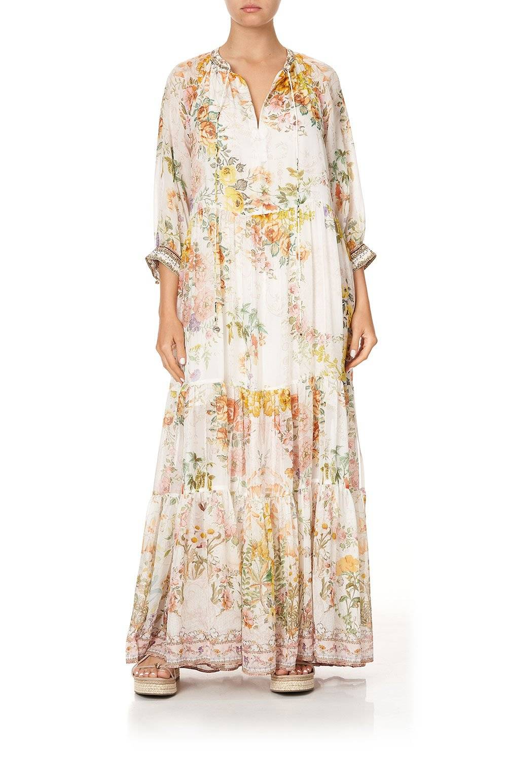 IN THE HILLS OF TUSCANY LONG GATHERED PANEL DRESS