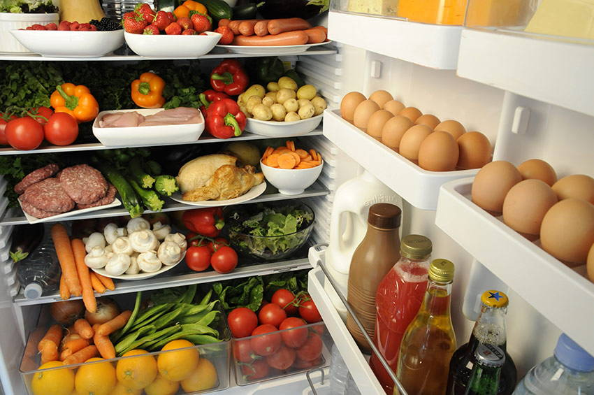 Raw food in fridge with bad microbes
