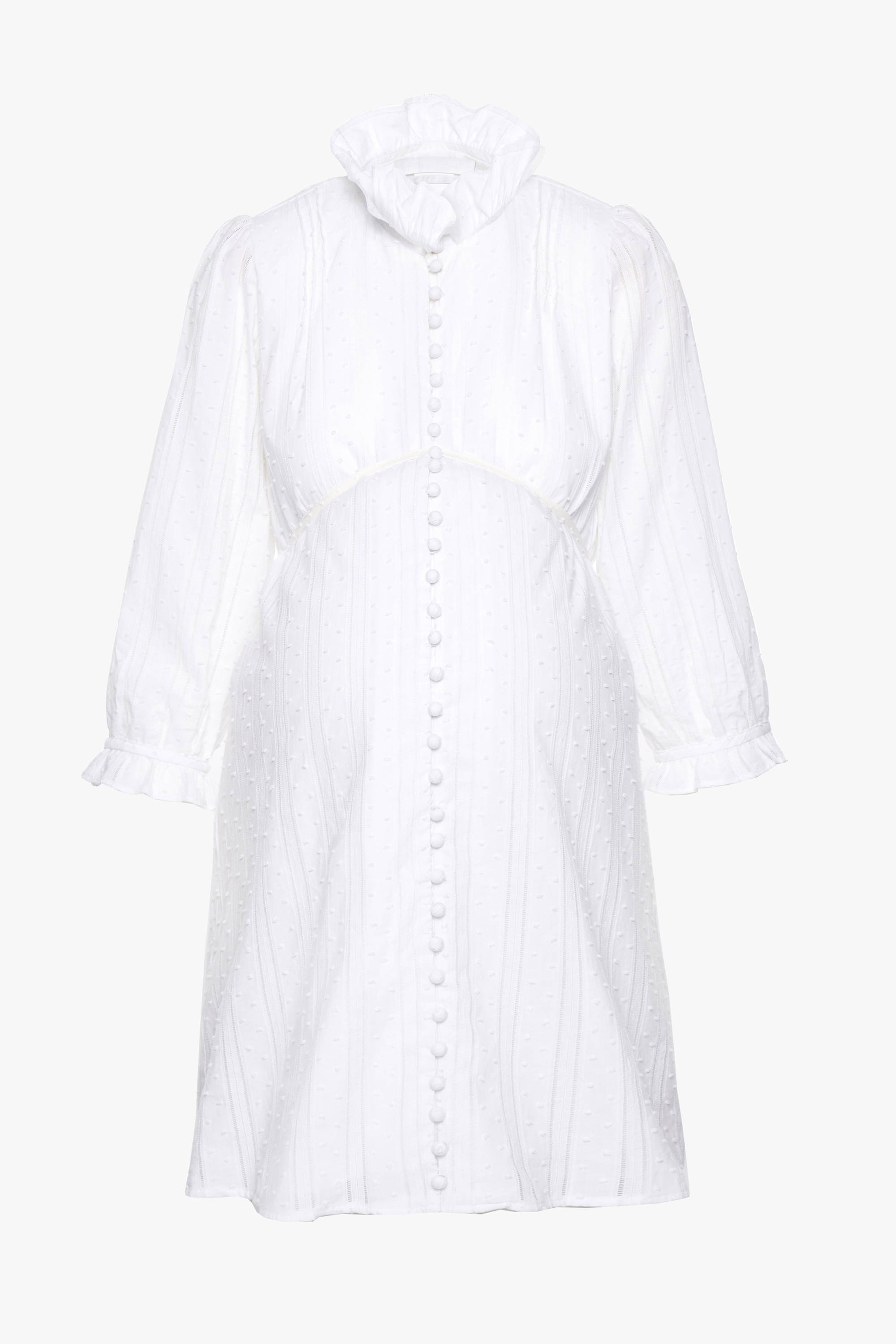 The maternity friendly Nichols dress in white stripe dot cotton