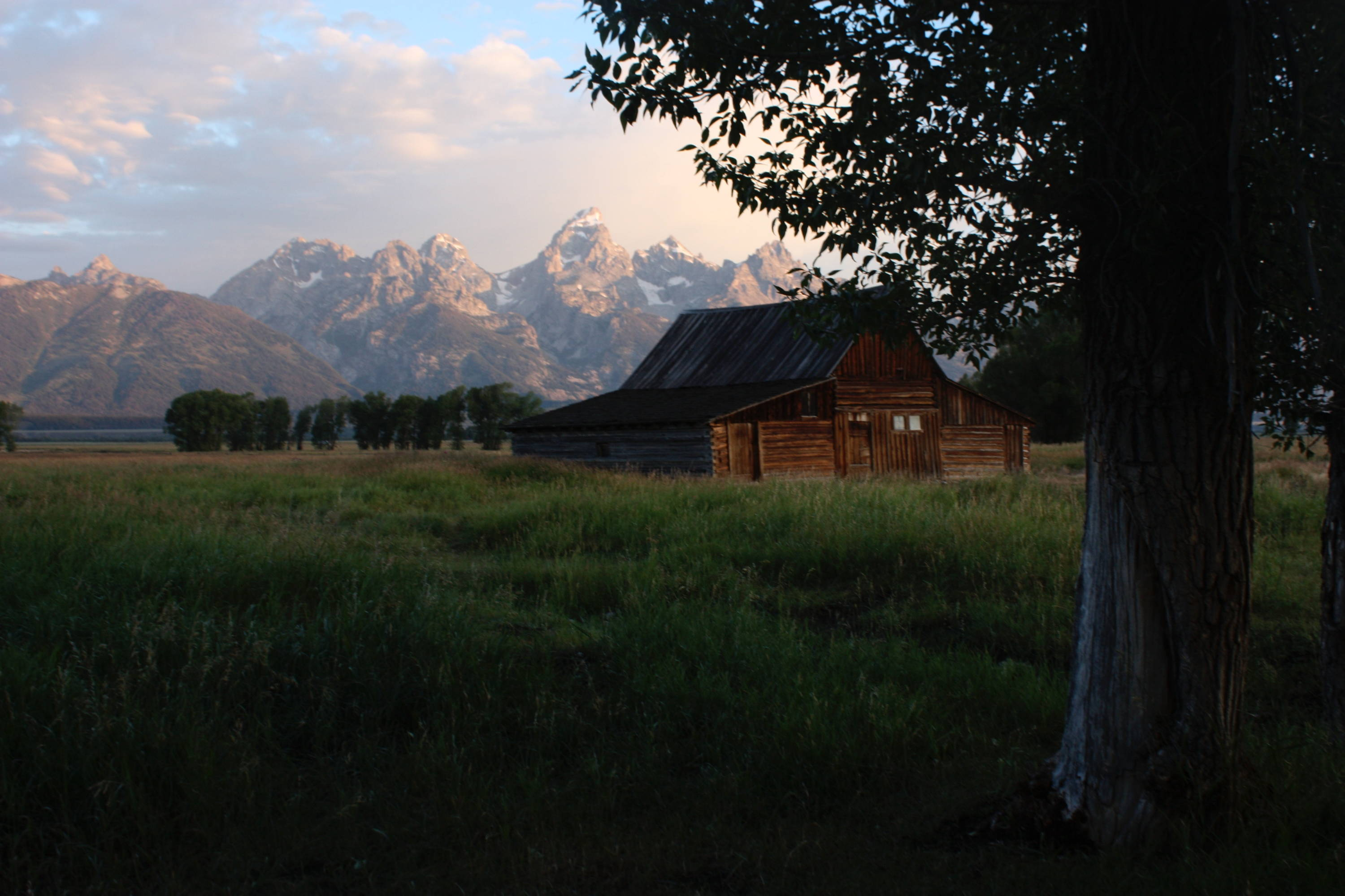 Grand Teton National Park Camping & Other Weekend Getaways: Barn and tree in foreground with peaking majestic mountains in background.