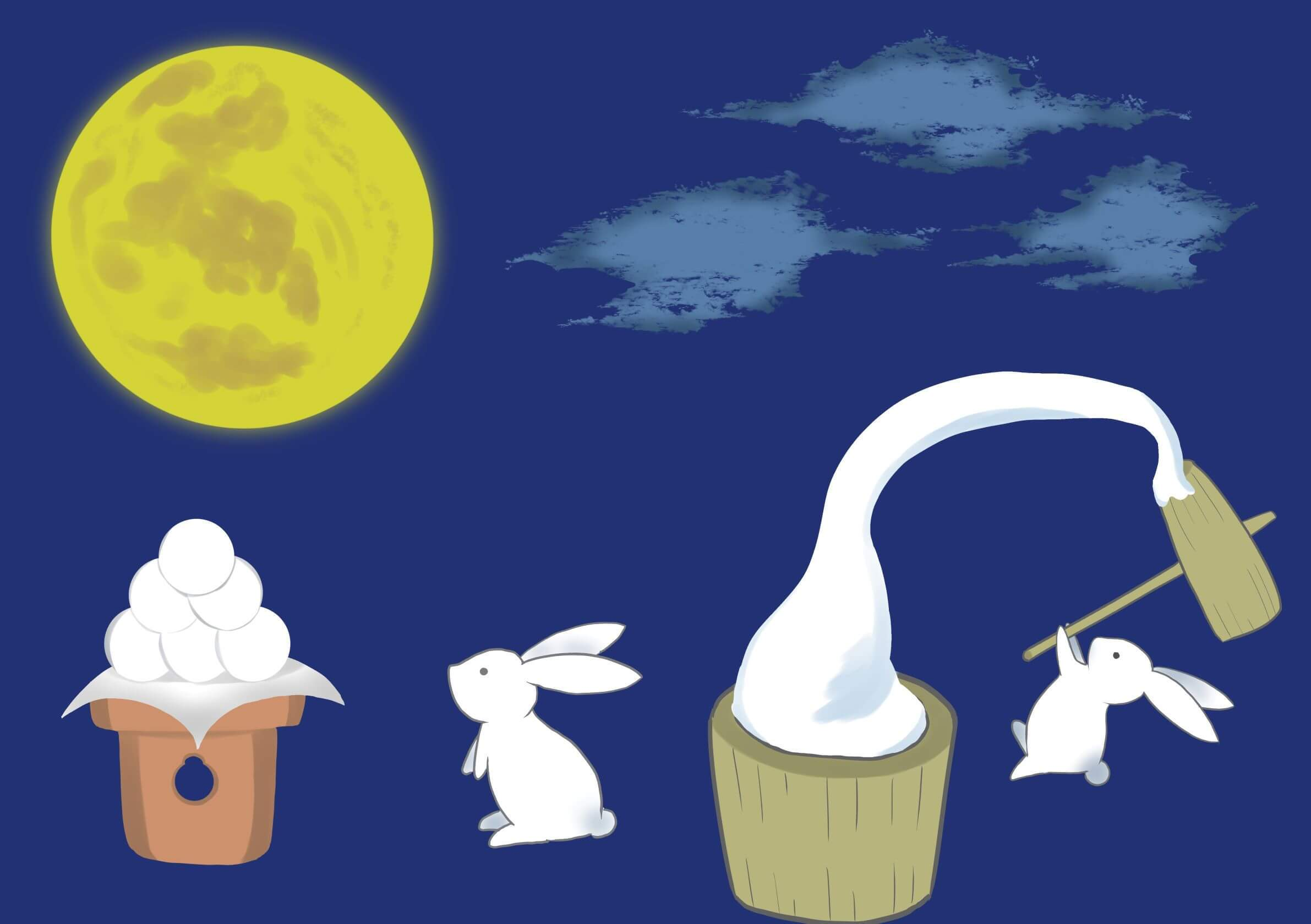 A rabbit pounding mochi and another rabbit looking at the Jugoya moon