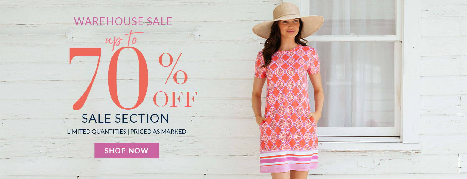 Up to 70% off sale section during our Warehouse Sale. Priced as marked. Shop now!