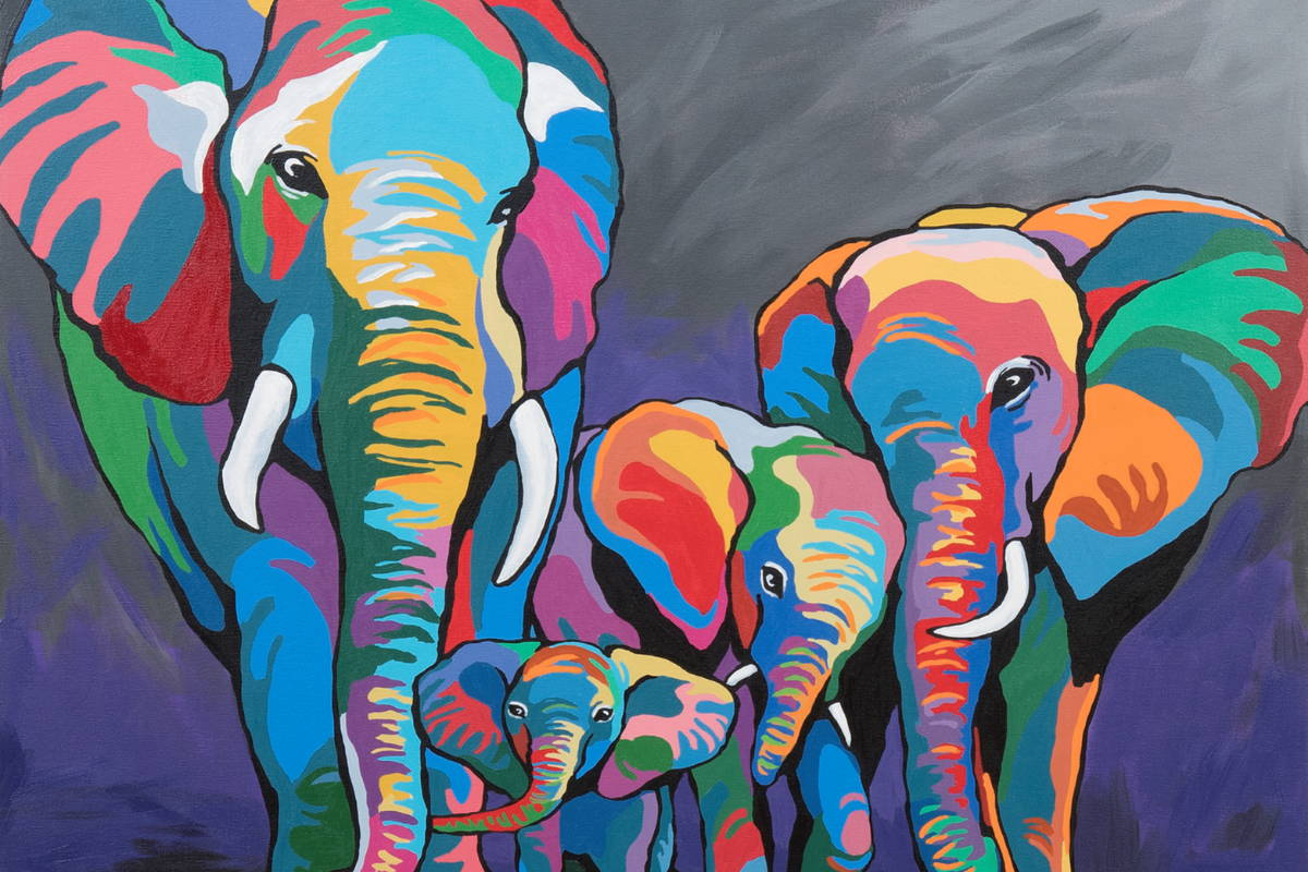 Steven Browns Multi-Coloured Elephants