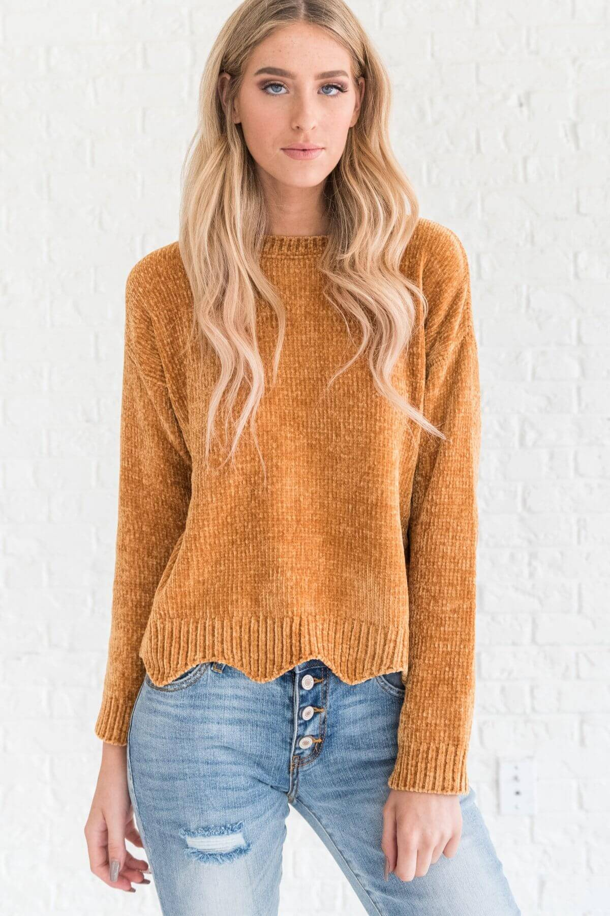 Mustard Yellow Soft Knit Chenille Scalloped Sweaters