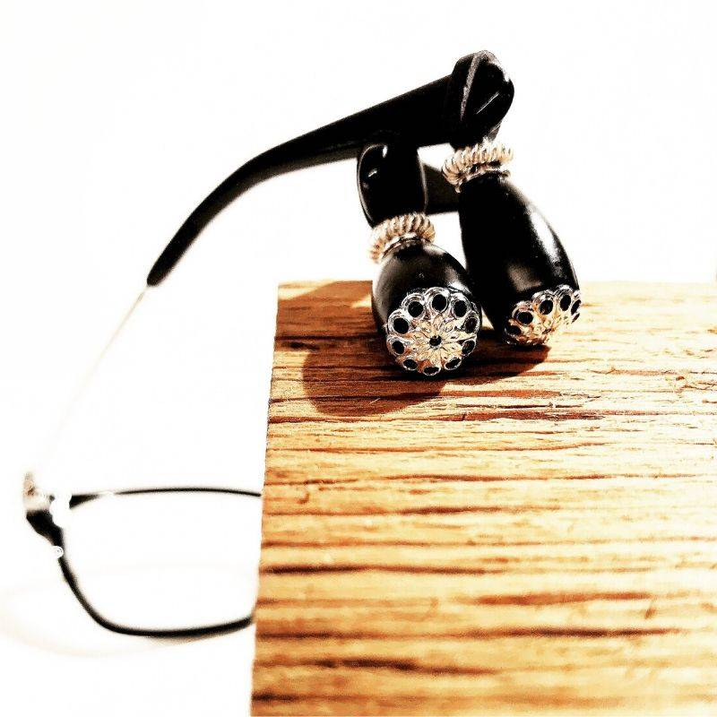 Eyeglass Jewelry prevents nose dents and slipping glasses. Balancing Dangles.