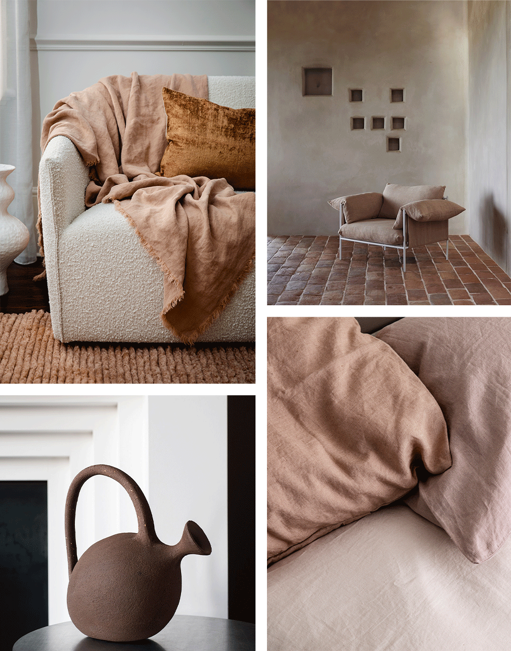 A collage of images. 1. The Talik Velvet Cushion in Fawn and The Freya Linen Throw in Fawn draped over a white boucle sofa. 2. The Alva Lounge Chair by Sarah Ellison place in the corner of a room. 3. The Aqua Regis Vase by Studio Pepe. 4. A close up of the Linen Pillowcases in Fawn, Dusk and Blush.