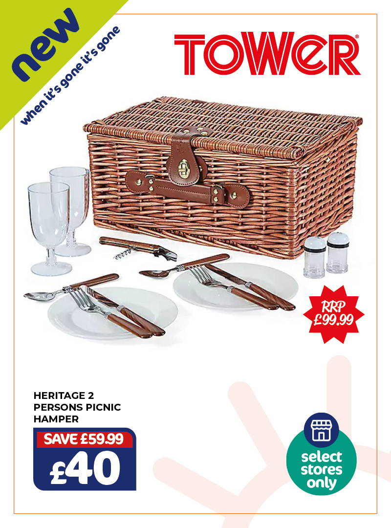 New - Tower Heritage 2 Person Picnic Hamper. £40, RRP £99.99, save £59.99. Selected stores only, when it's gone it's gone!