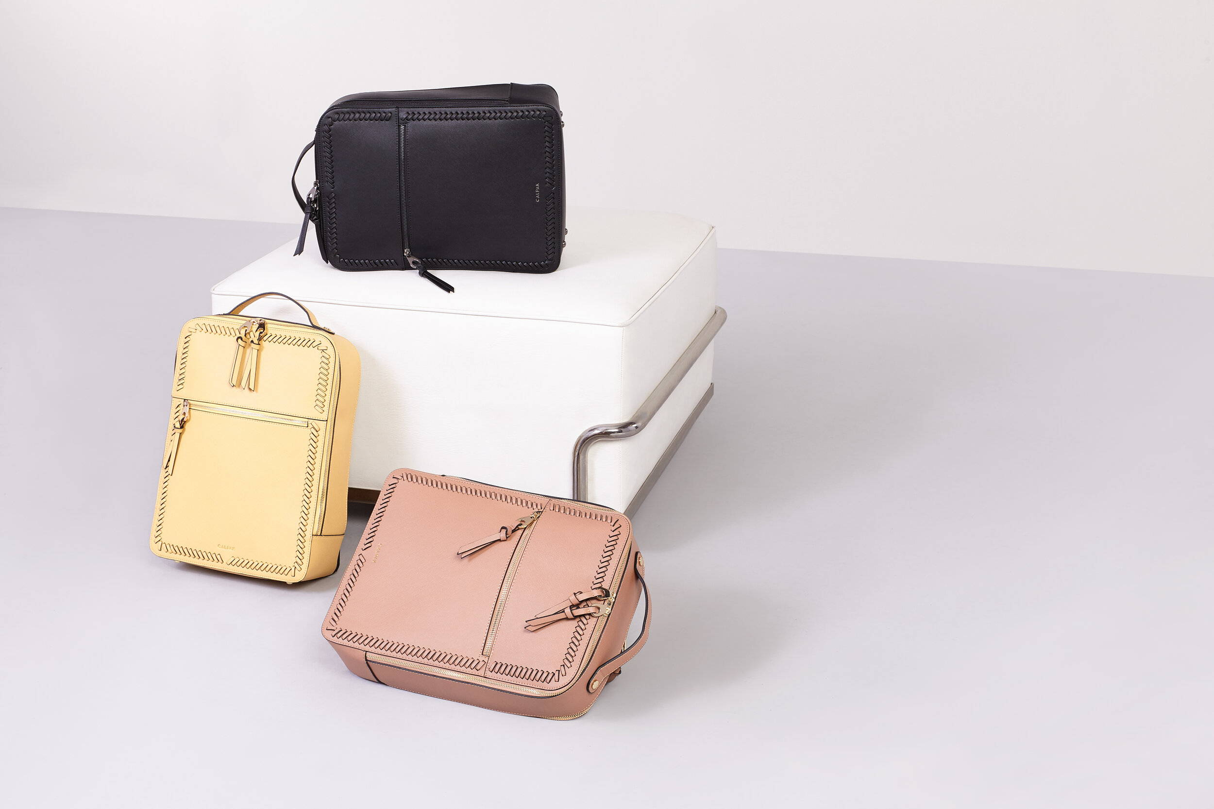 Kaya Laptop Backpack in Pear, Caramel and Gunmetal Black