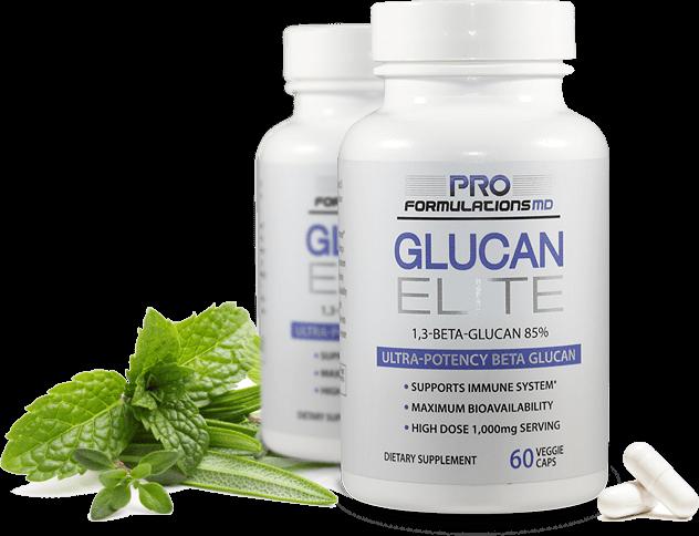 Glucan Elite Capsules beside some green plants