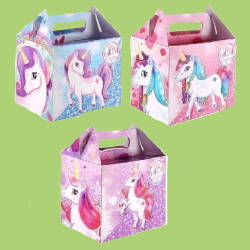 unicorn themed lunch party boxes in pink and purple