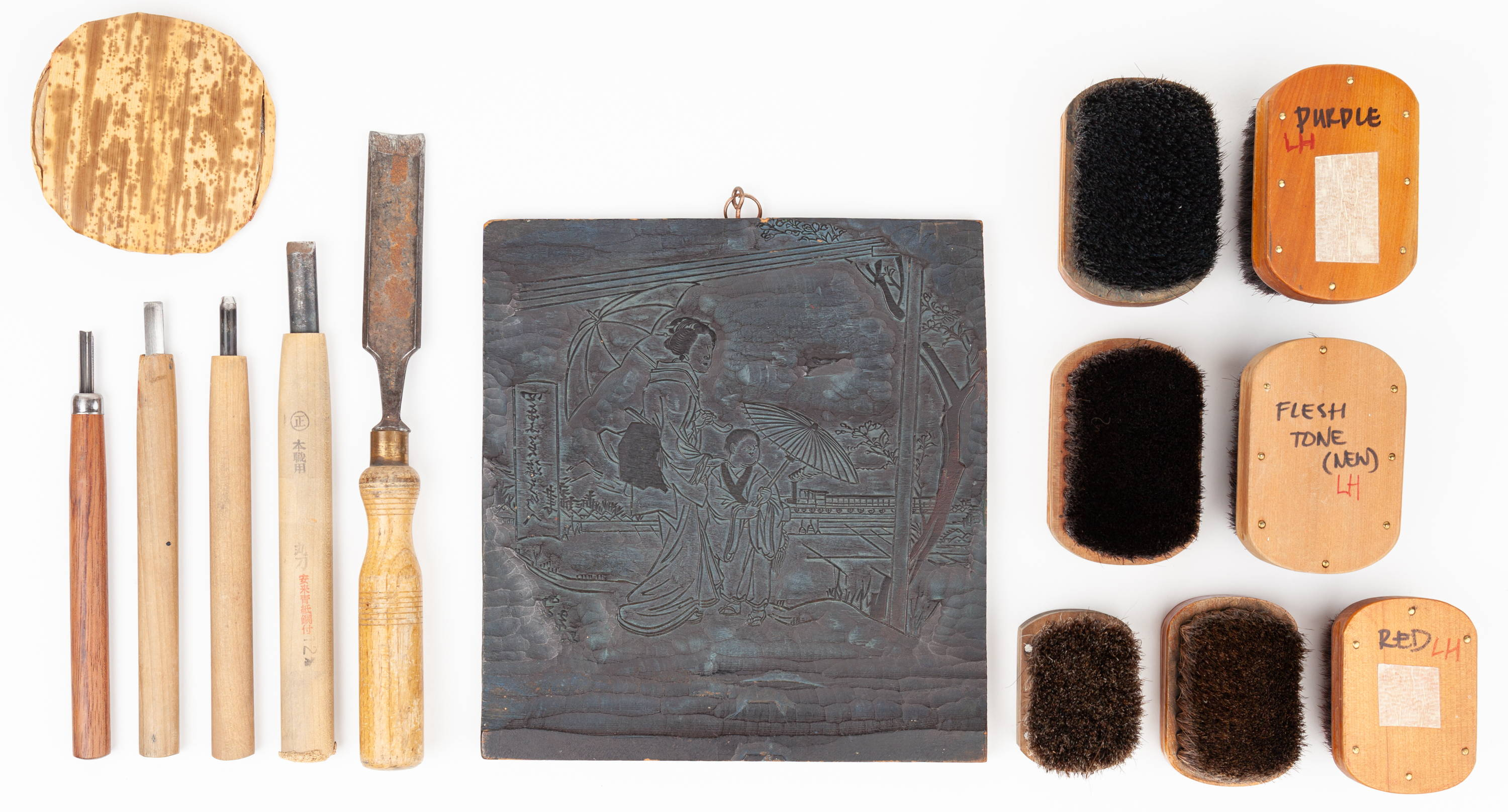 Tools in making ukiyo-e woodblock prints. Includes knives, chisels, brushes and wood block.