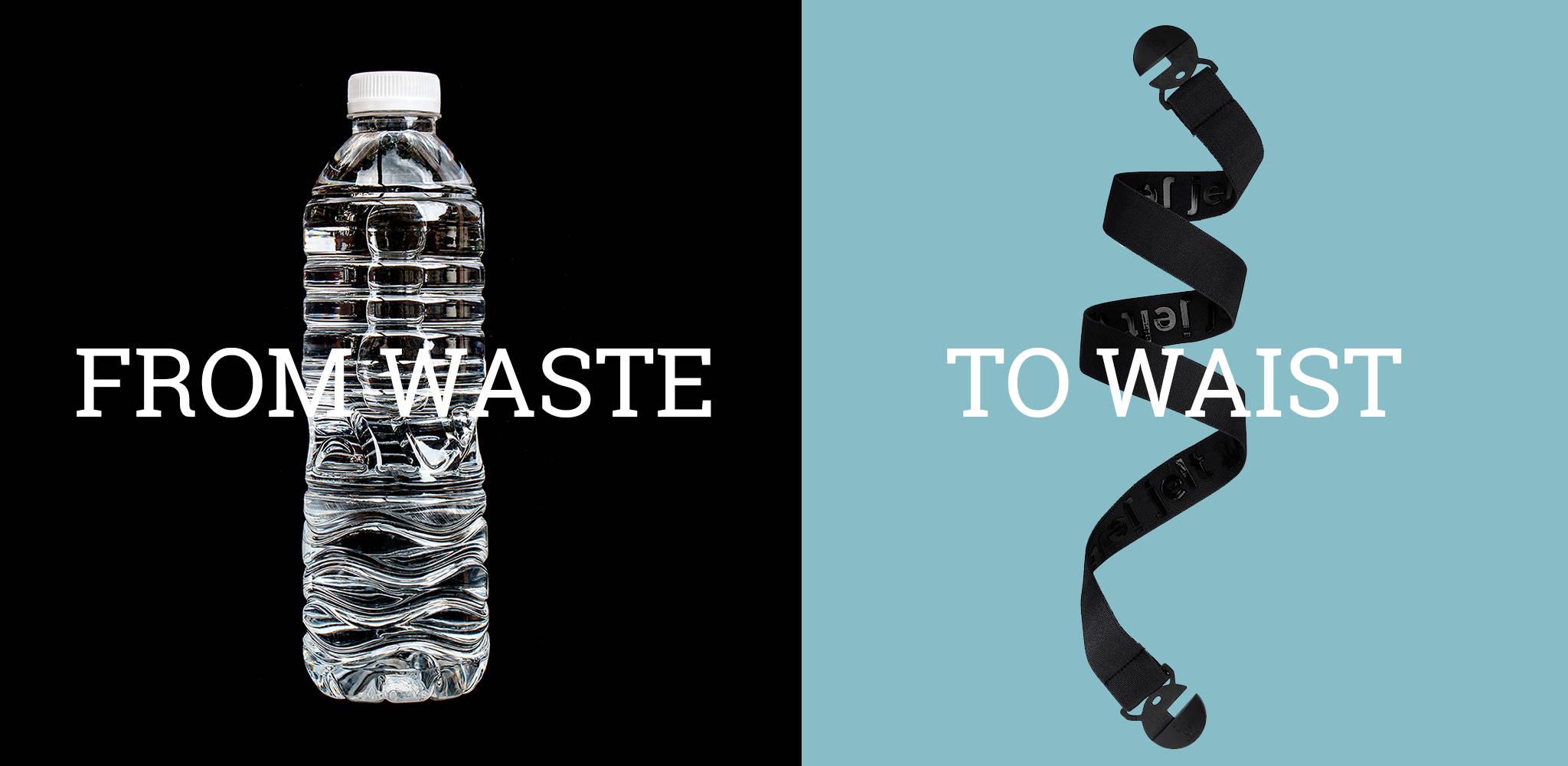 Image showing how Jelt uses plastic water bottles to make super strong elastic belts.