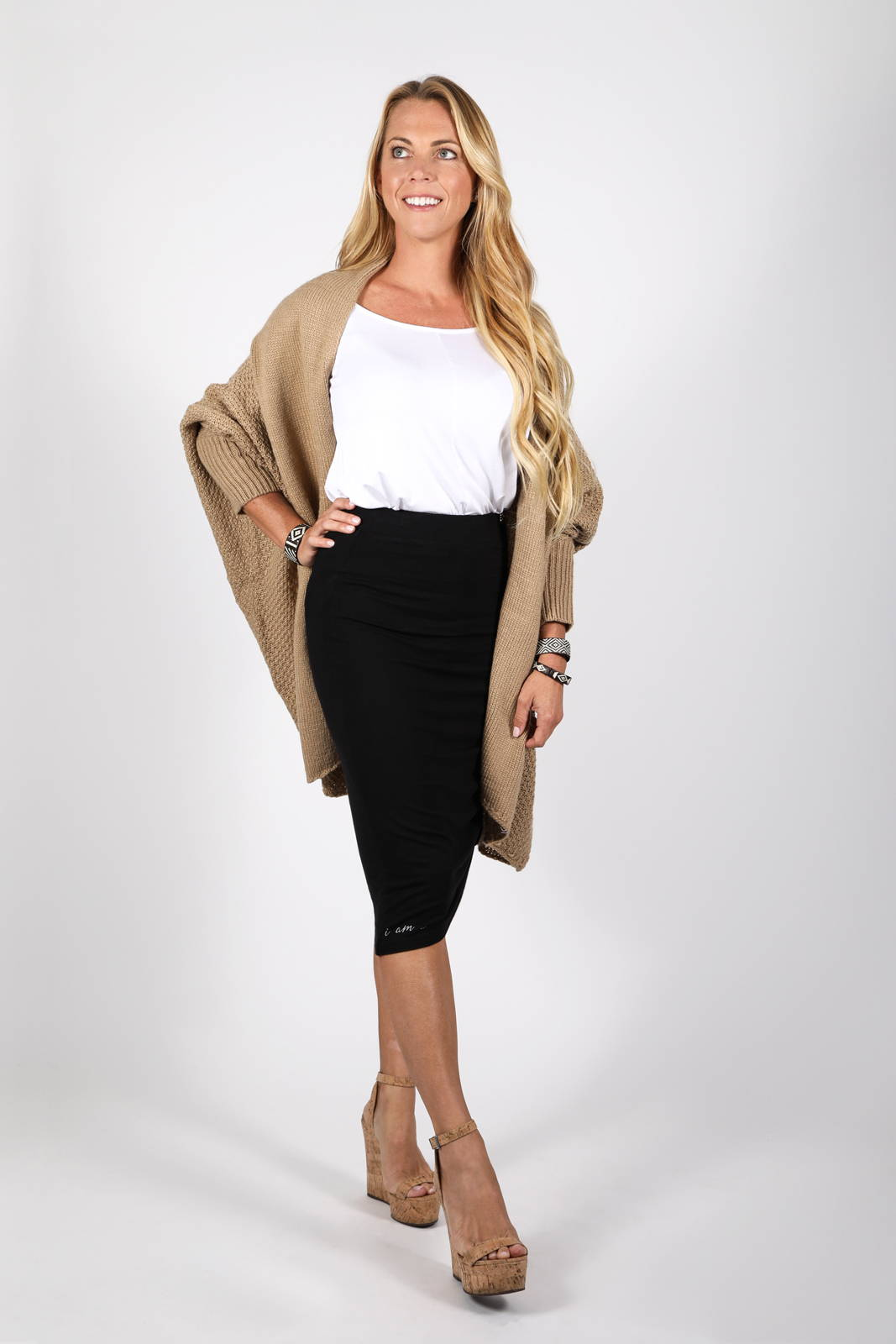 The Zeville Cocoon Cardigan with the Kuma Tie Skirt by illuminative