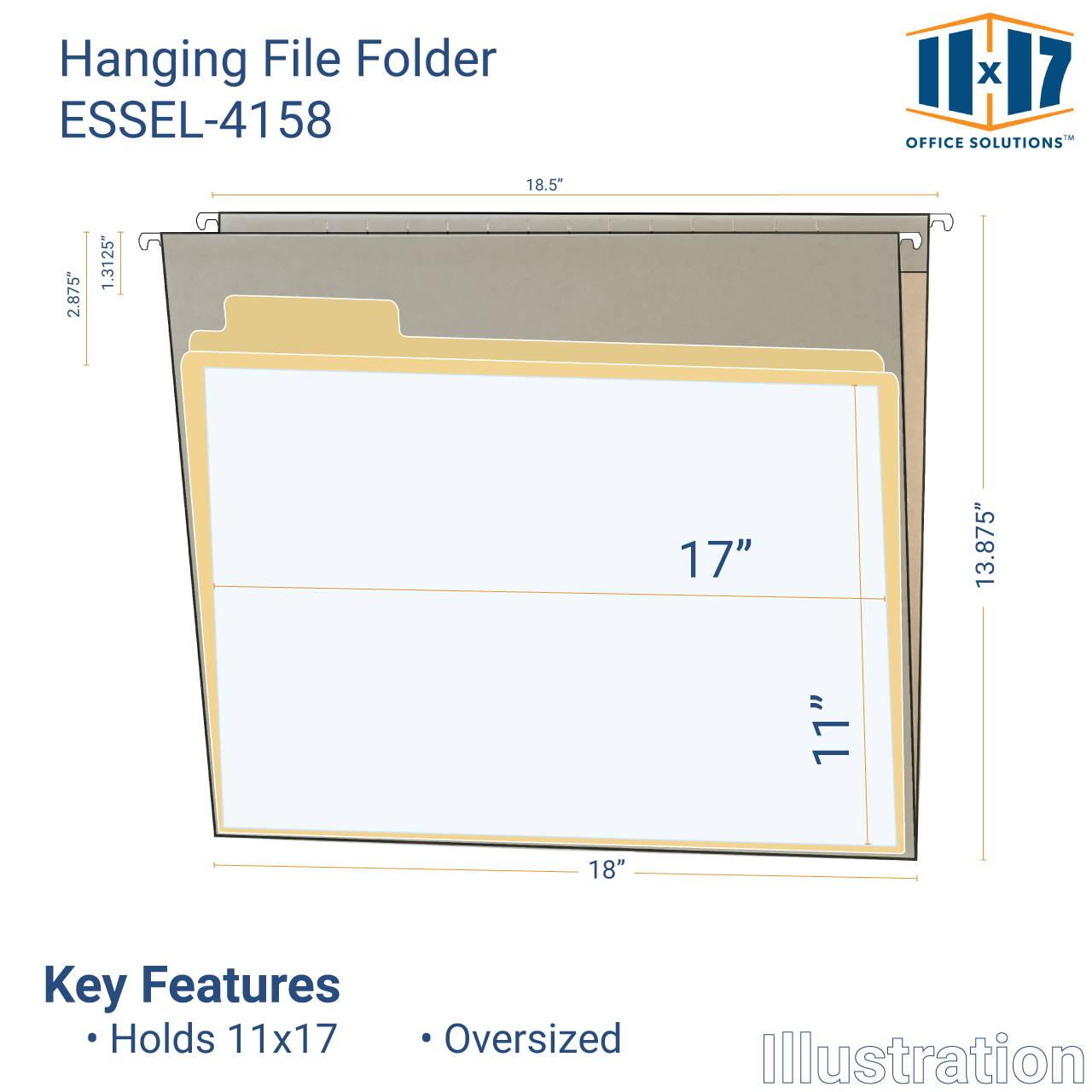 illustration of hanging file folder and 11x17 sheet