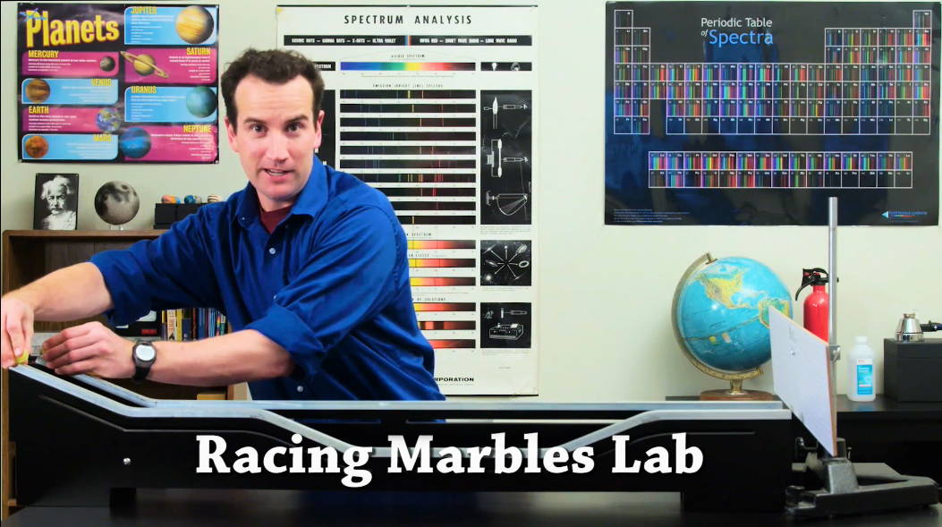 Figure 2: The Racing Marbles Lab is one of the best energy demos. Be sure to stop and let the students thing about what might happen before you perform the solution.