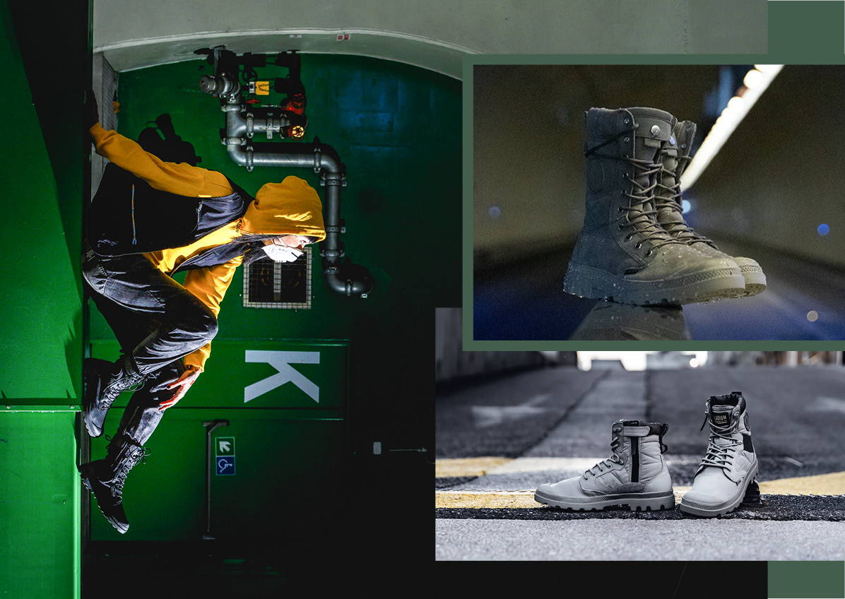Image shows a person wearing Tactical OPS Waterproof Boot in Black and the collage of green and grey boots