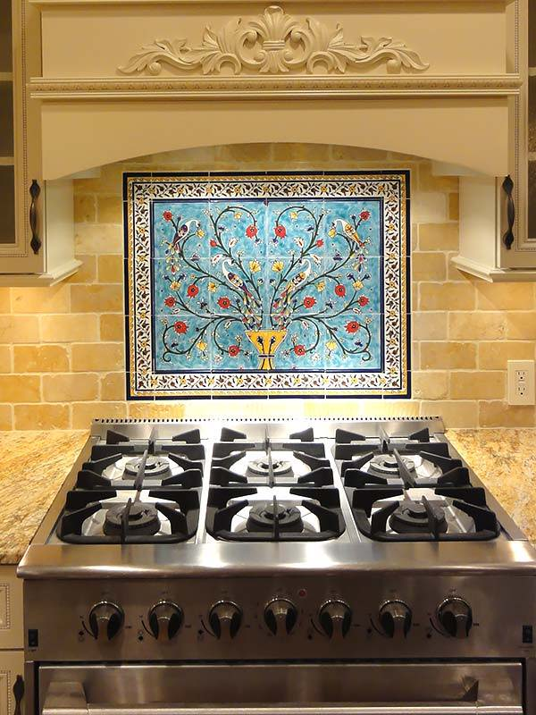 Mike's kitchen backsplash tile mural - Peacocks and pomegranate tree