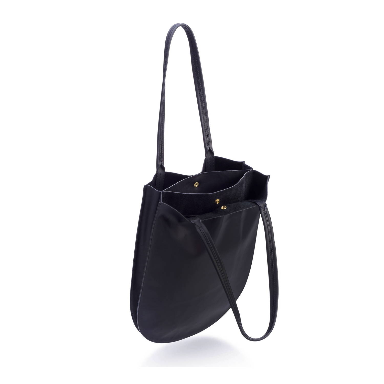half moon tote in black leather