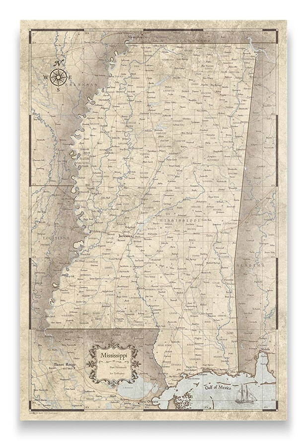 Mississippi Push pin travel map rustic vintage