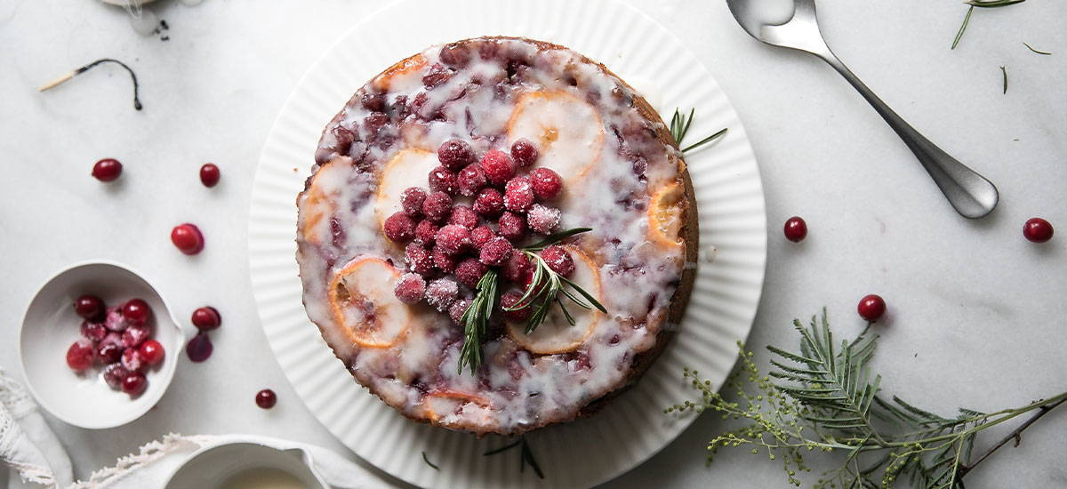Cranberry & Clementine Upside Down Yoghurt Cake