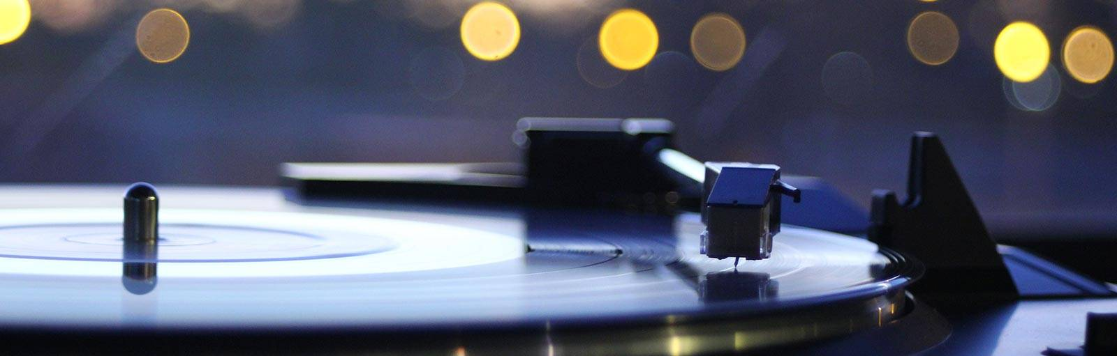 Record spinning on turntable