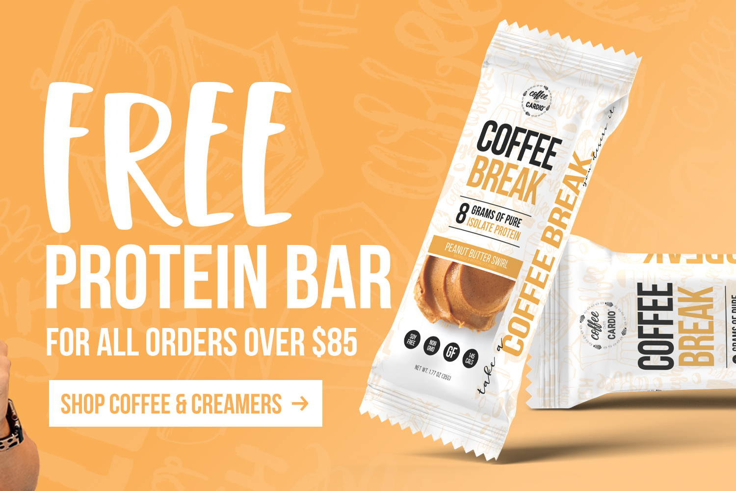 Coffee Break -  Protein Bar - Peanut Butter Swirl- Coffee Over Cardio