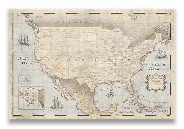 United States Map Pin Board Rustic Vintage